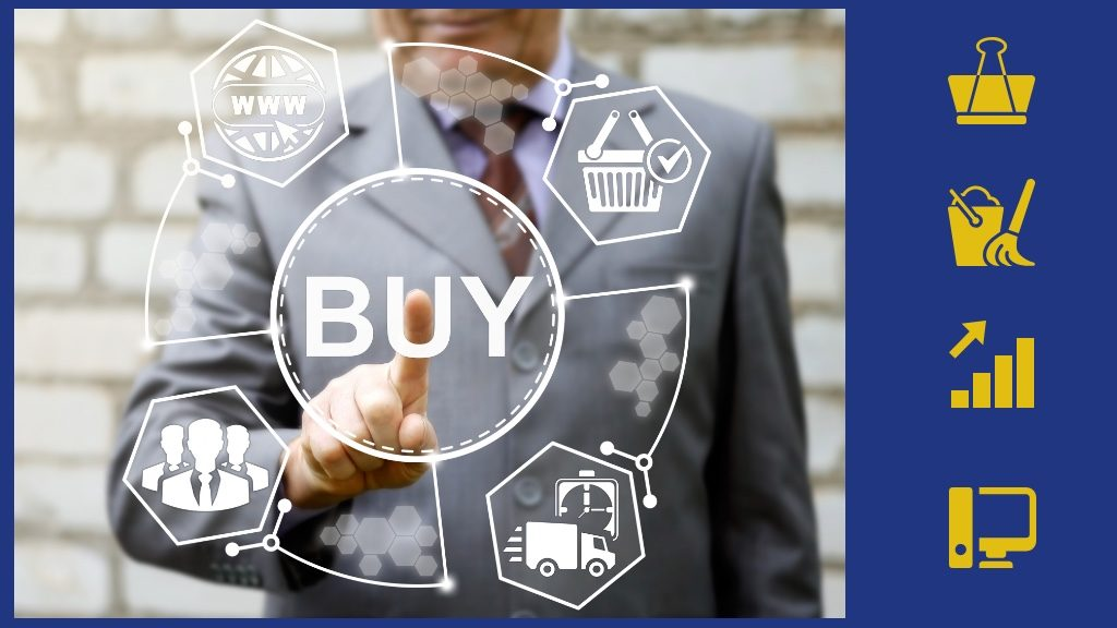 Businessman touched buy word icon. Business concept internet shopping. Web shop sign. Network, online payment icon, finance, purchase, fast free delivery, team, group people, basket.Group Purchasing Organization the befits for small business owners and associations